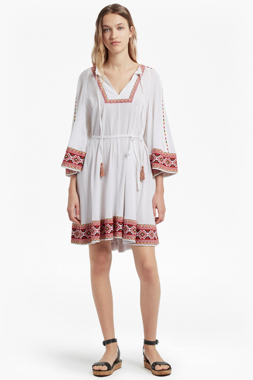 d2925c66cc14 Adanna Crinkle Embroidered Smock Dress