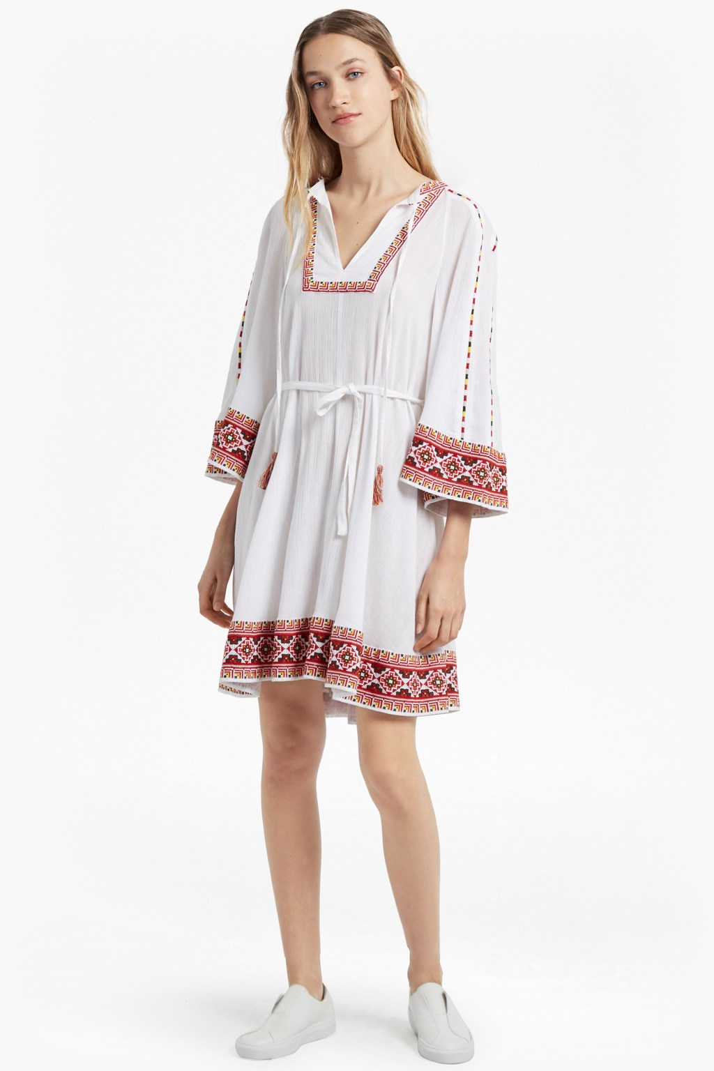 db2bc7627810 Adanna Crinkle Embroidered Smock Dress. loading images.