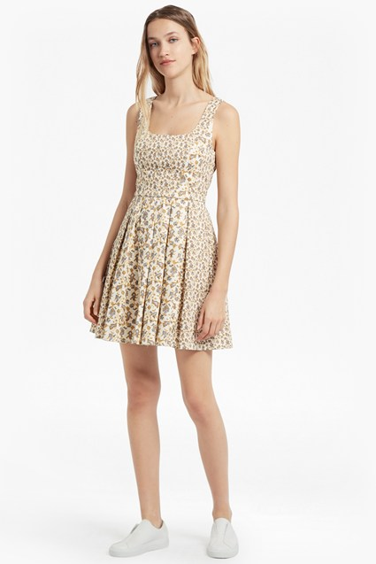 Niko Stretch Embroidered Skater Dress
