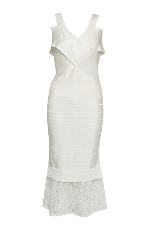 solar spotlight stretch lace bandage dress