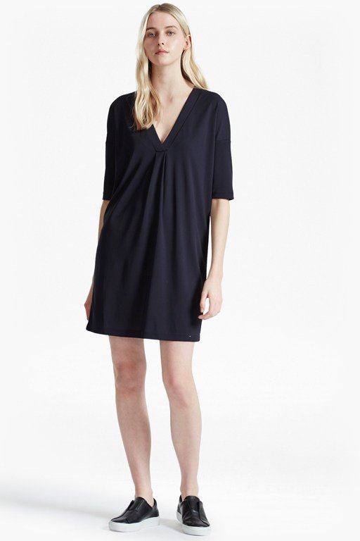bottero drape v neck shift dress