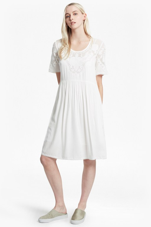 shannon stitch embroidered midi dress