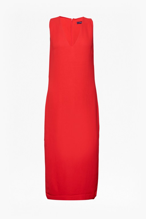 essien crepe sleeveless v neck dress