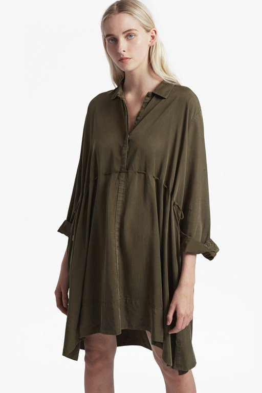 sunny drawstring shirt dress