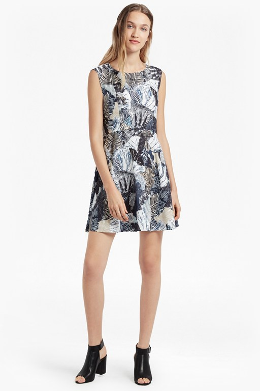 lala palm print flared dress