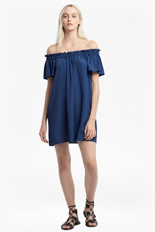 light crepe off the shoulder dress