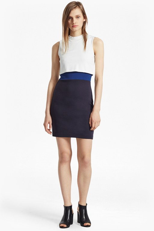 lula jersey stretch double layer dress