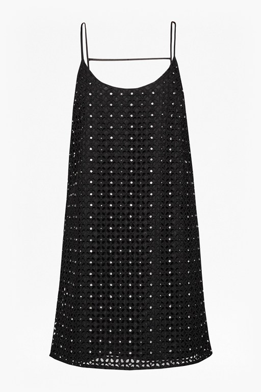tough diamond crochet lace shift dress