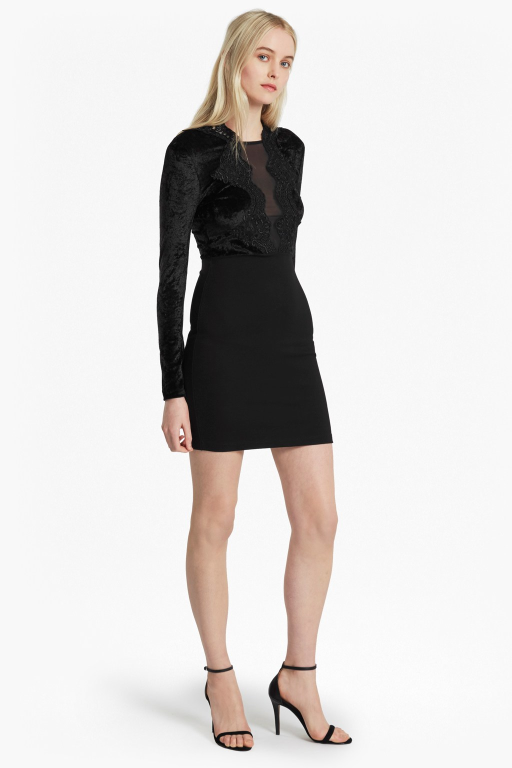 The London Velvet And Lace Dress | Collections | French Connection