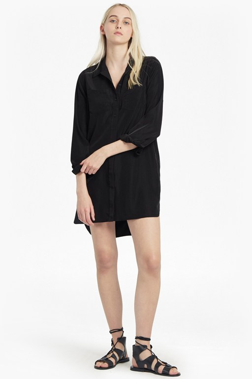 oversized light crepe shirt dress