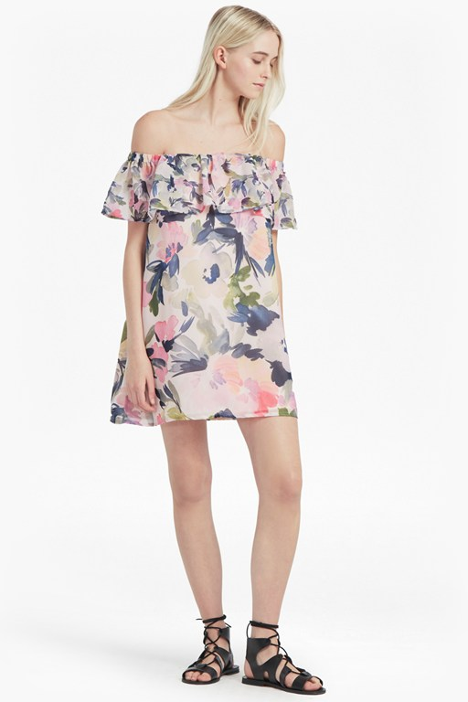catlett georgette off the shoulder dress