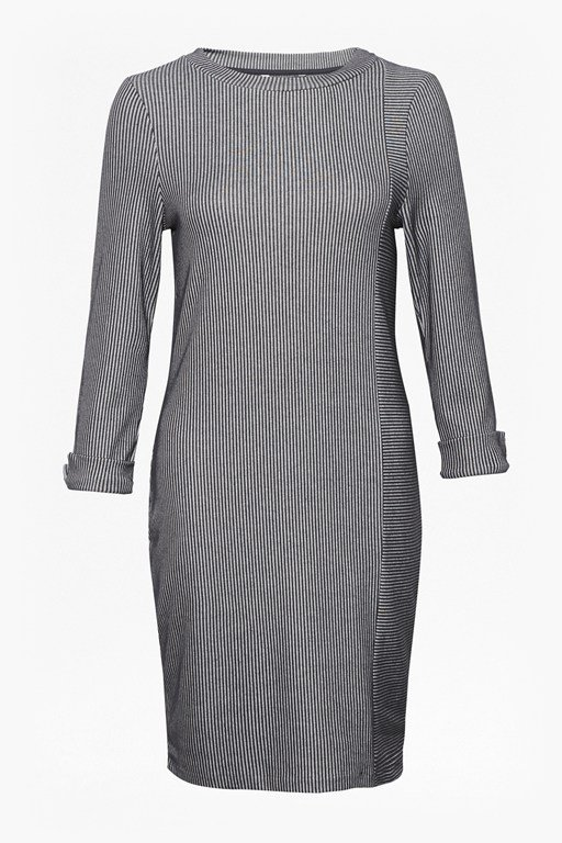 sario ribbed jersey round neck dress