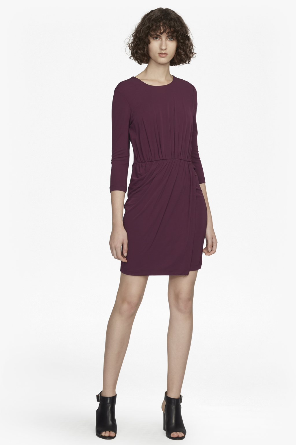 Elsa Long Sleeved Draped Jersey Dress Collections French Connection