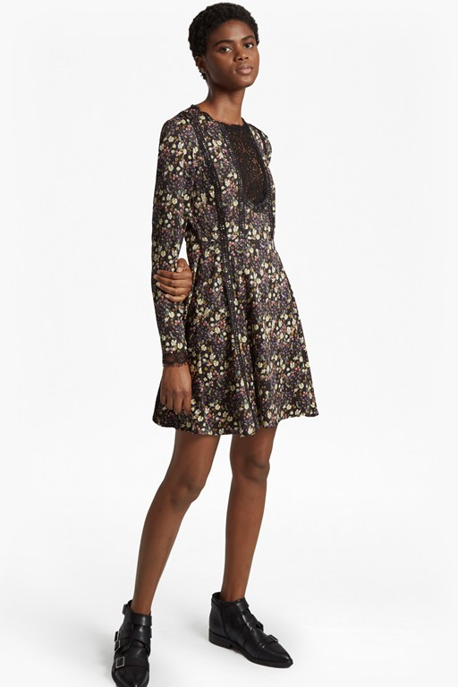 hallie drape floral flared dress