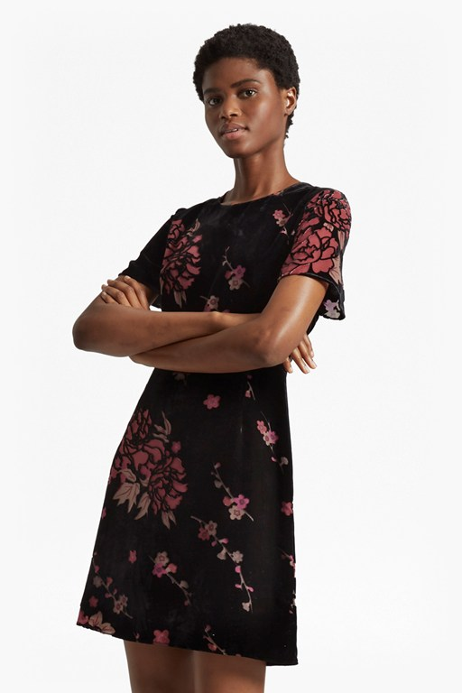 wilma devoré short sleeved dress