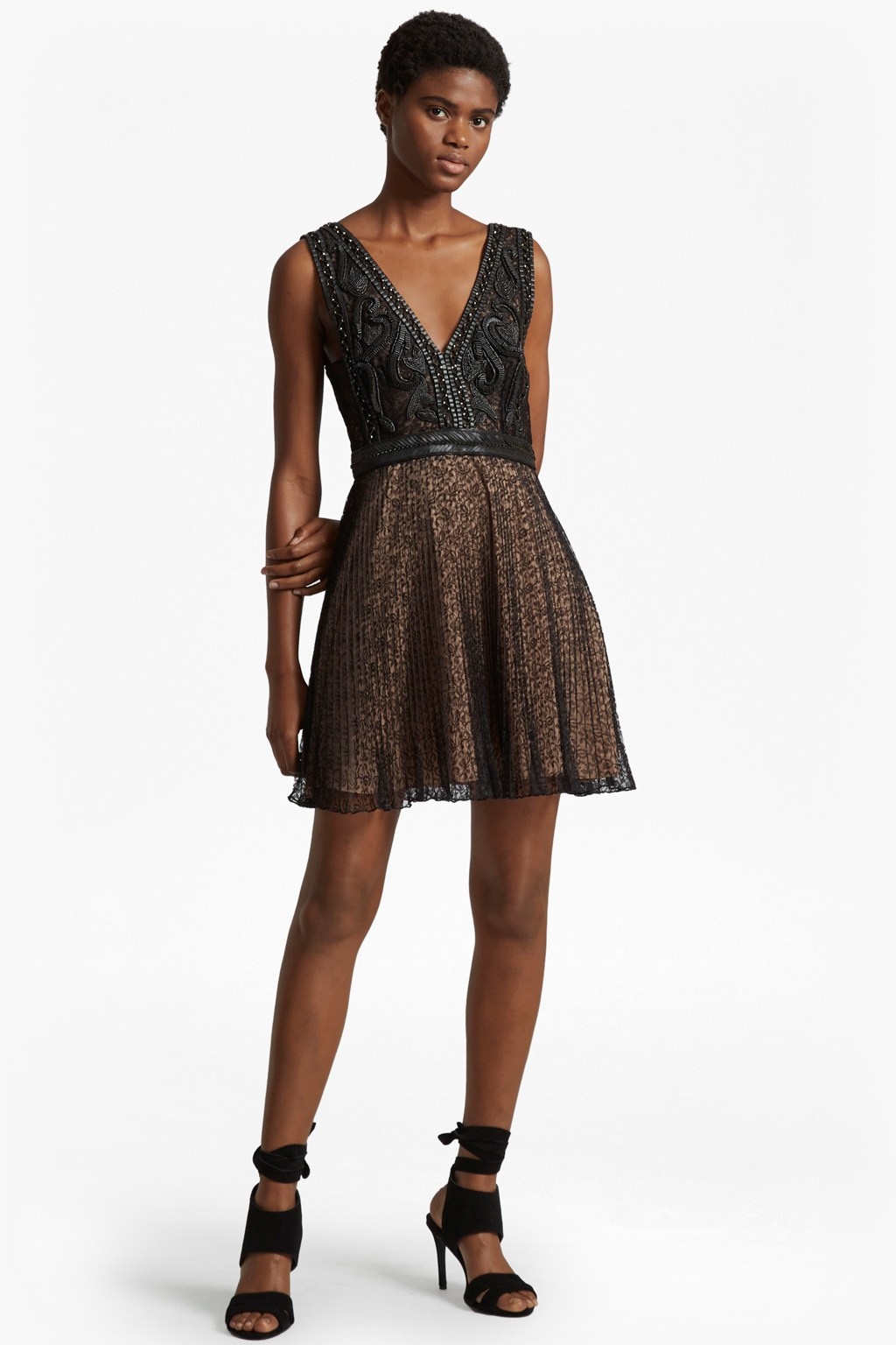 08b2797146f Florence Lace And Faux Leather Dress | Collections | French Connection