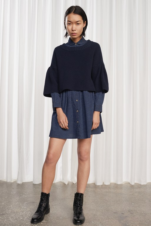 indigo cross long sleeved gathered shirt dress