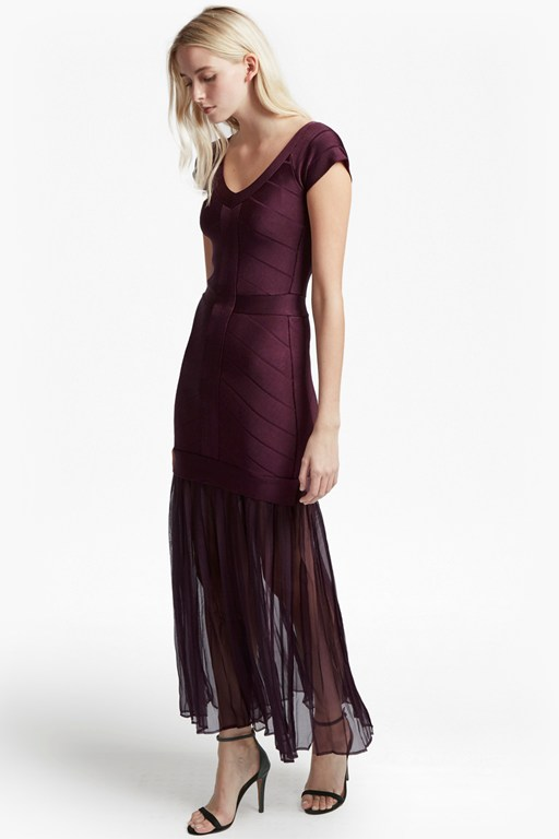 rosa spotlight off-shoulder maxi dress