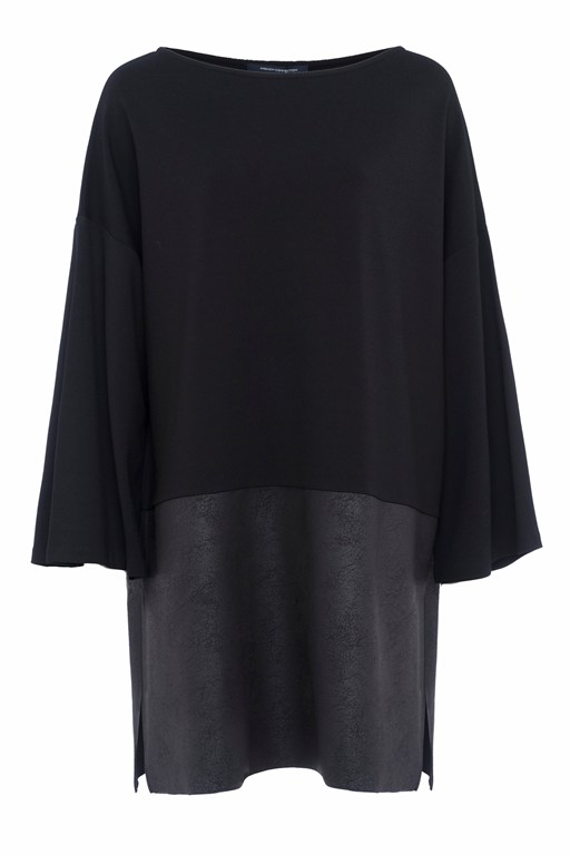 inez jersey 3/4 sleeves slash neck tunic dress