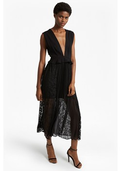 Angelina Pleated Lace and Jersey Maxi Dress
