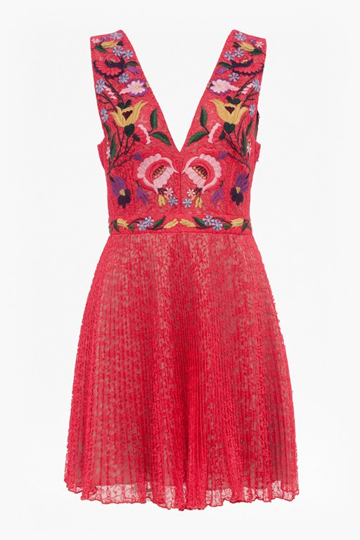 alice lace embroidered v neck dress