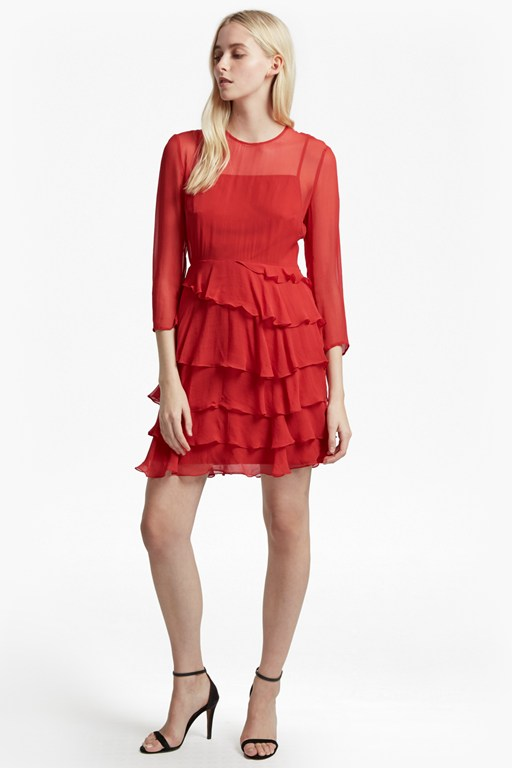 allegro silk chiffon ruffle dress