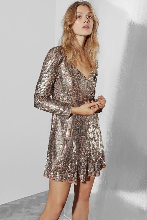 aurelie sequin v neck dress