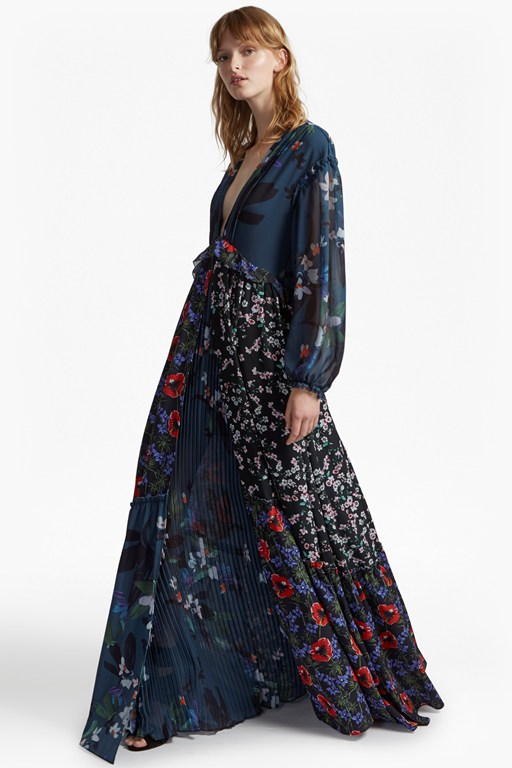 celia mix long sleeve v neck maxi dress
