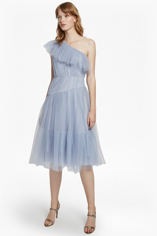 luna sparkle one shoulder flared dress