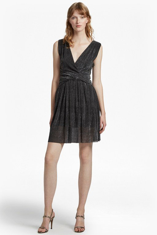 marcelle shimmer jersey v neck dress