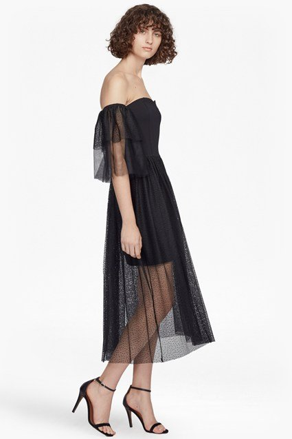 Valentin Sheer Jersey Off Shoulder Midi Dress