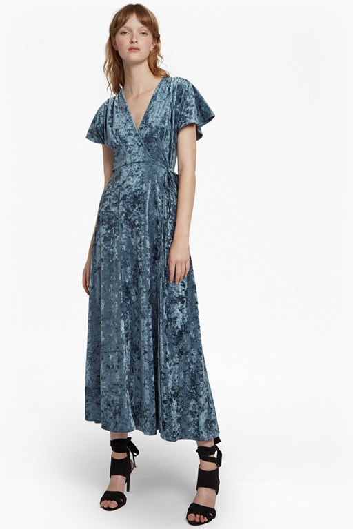 aurore crushed velvet short sleeve maxi dress
