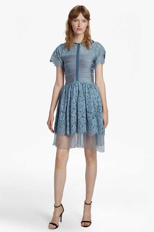shana spotlight short sleeve flared dress