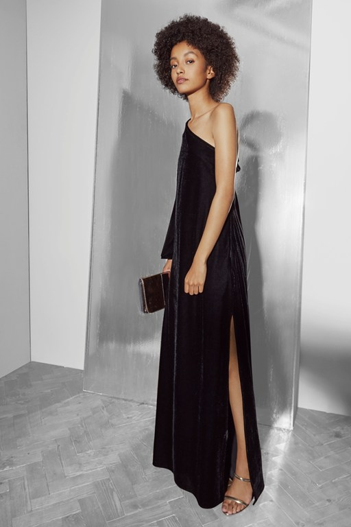 aurore velvet one shoulder maxi dress
