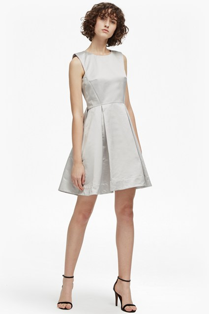 Juliet Satin Round Neck Dress