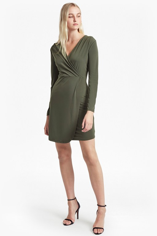 slinky long sleeved v neck wrap dress