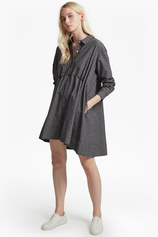 smithson checked drawstring shirt dress