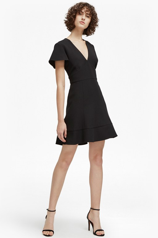 whisper ruth v neck flared dress