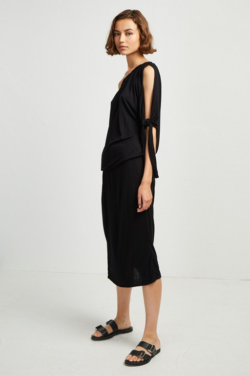 tanna jersey asymmetric midi dress