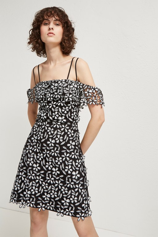 fulaga floral lace off the shoulder dress