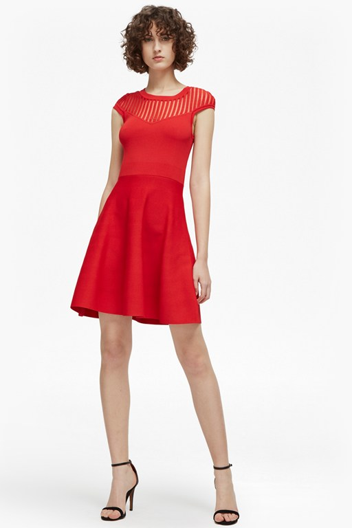 rose crepe mesh fit and flare dress