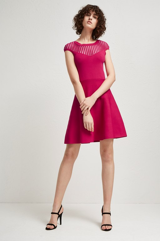 rose crepe fit and flare dress