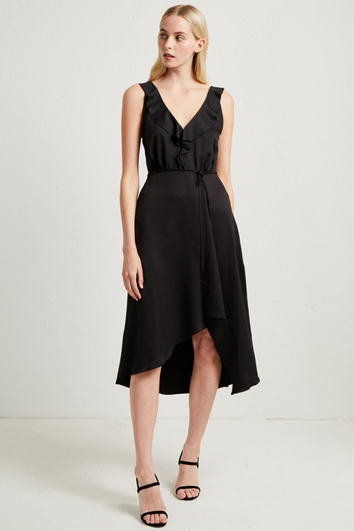 maudie drape ruffle dress
