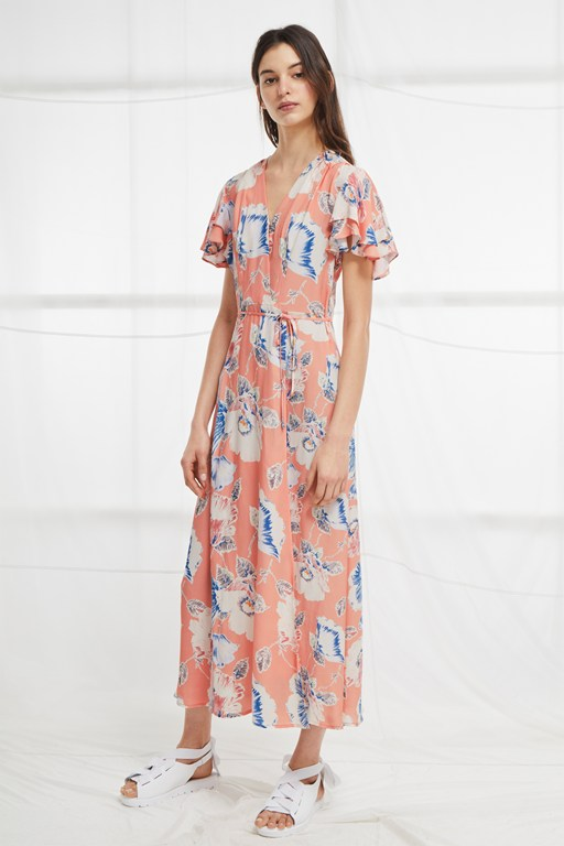 cari crepe midi tea dress
