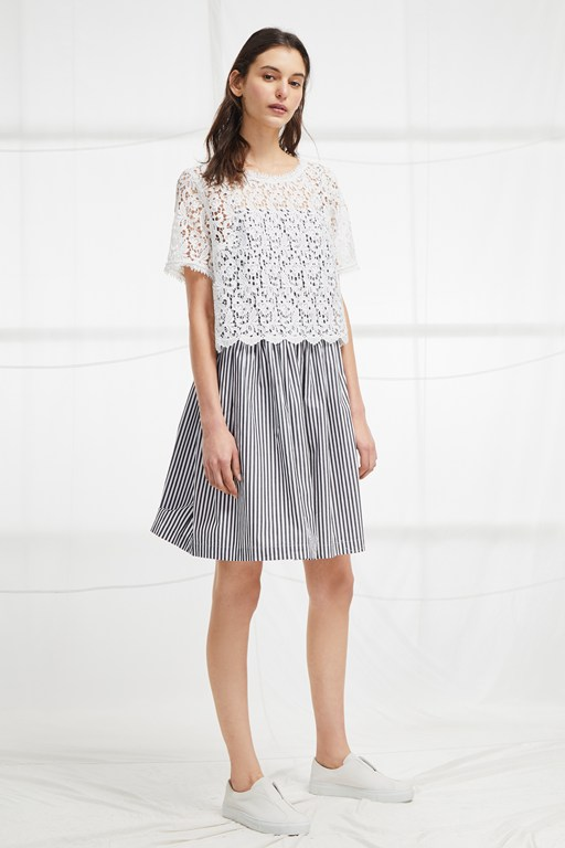 sardinia stripe lace tea dress