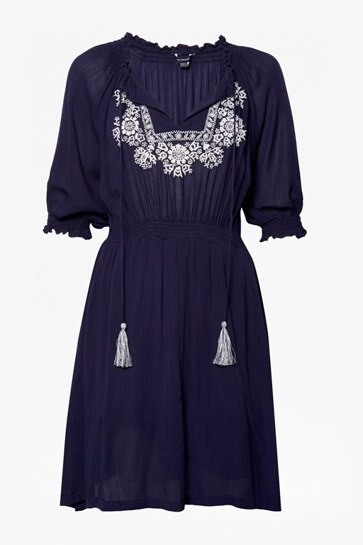 catania crinkle embroidered dress