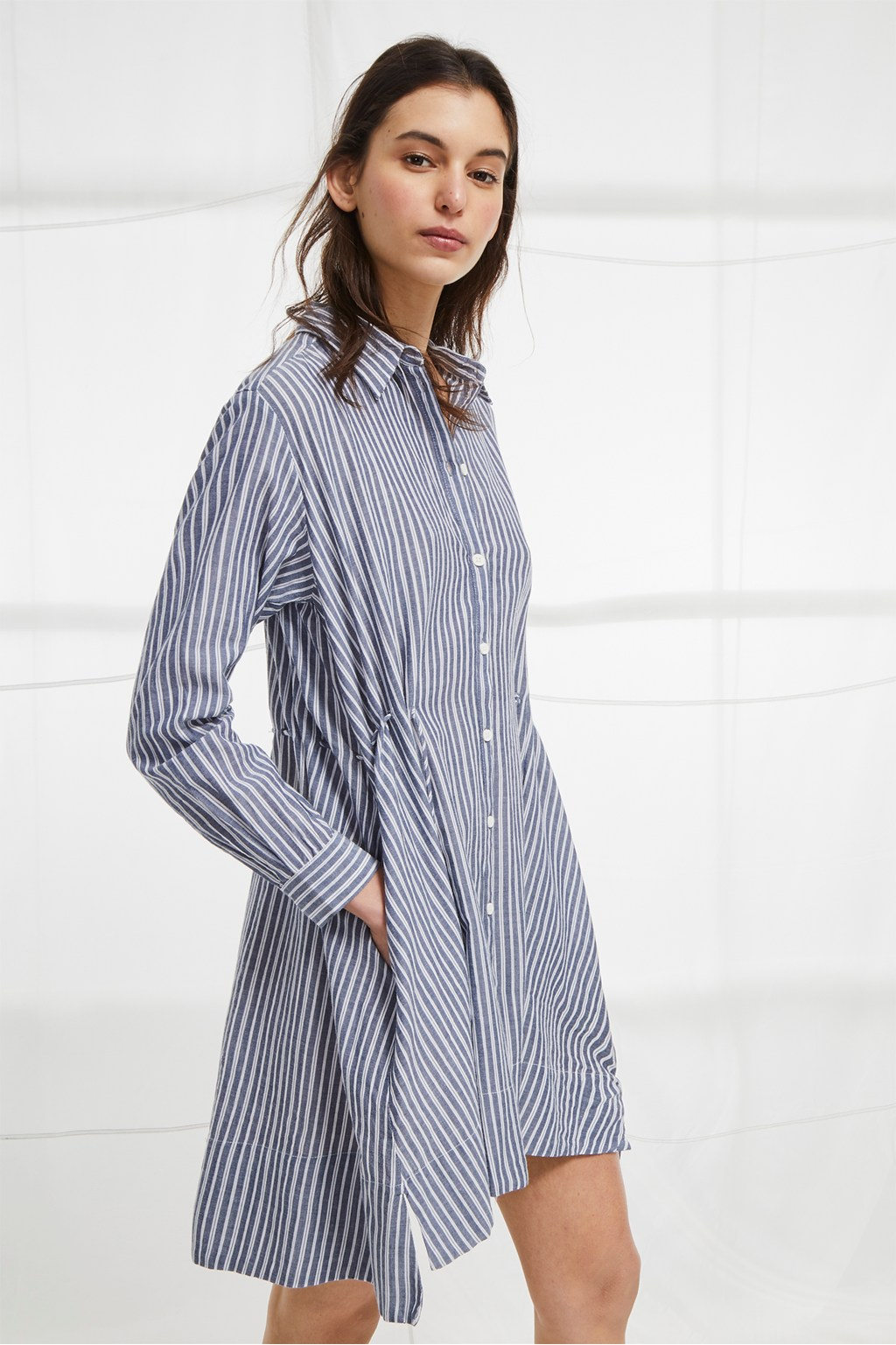 5930c61fae loading images... loading images... loading images... Tatus Stripe  Drawstring Shirt Dress