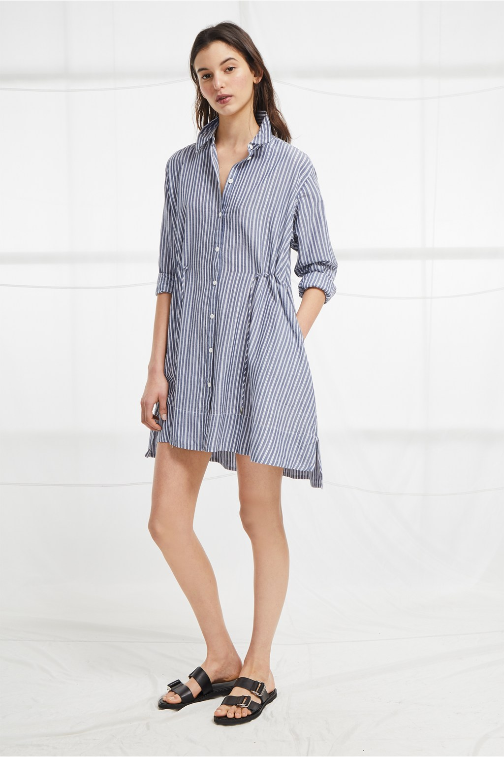 702609a669 Tatus Stripe Drawstring Shirt Dress. loading images.
