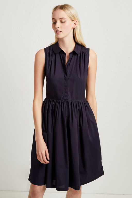 rhodes poplin sleeveless shirt dress