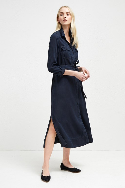 tandy tie waist shirt dress